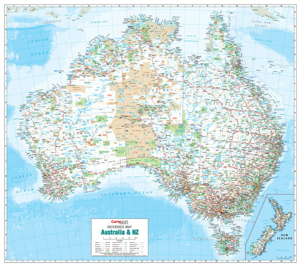 Australia To New Zealand Map.Buy Australia New Zealand Hang Railed Map Mapworld