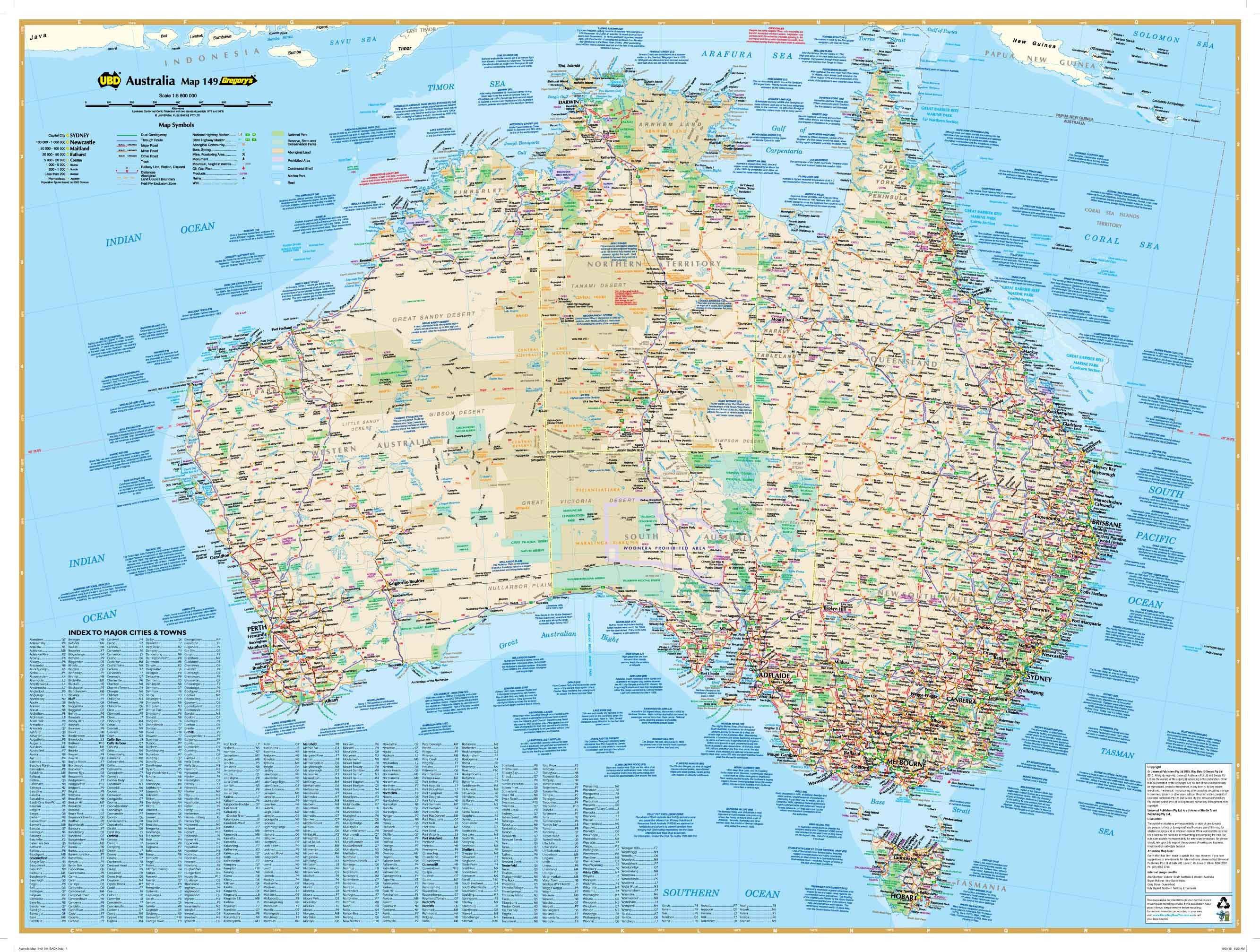 Large Map Of Australia.Australia 149 Gregory S Large 920 X 675mm Laminated Wall Map