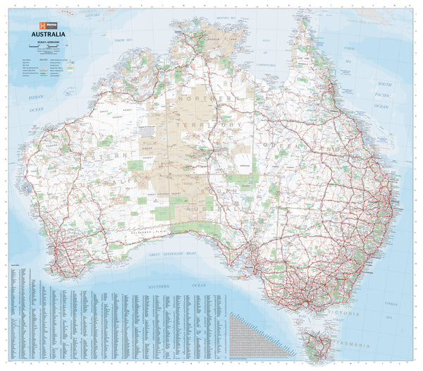 Australia Hema 1000 x 875mm Large Laminated Wall Maps with Hang Rails