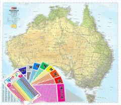 Australia Hema 1686 x 1481mm Road & Terrain Mega Map Laminated Wall Map with FREE Map Dots