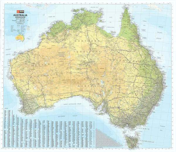 Australia Hema 1000 x 875mm Road & Terrain Paper Wall Map