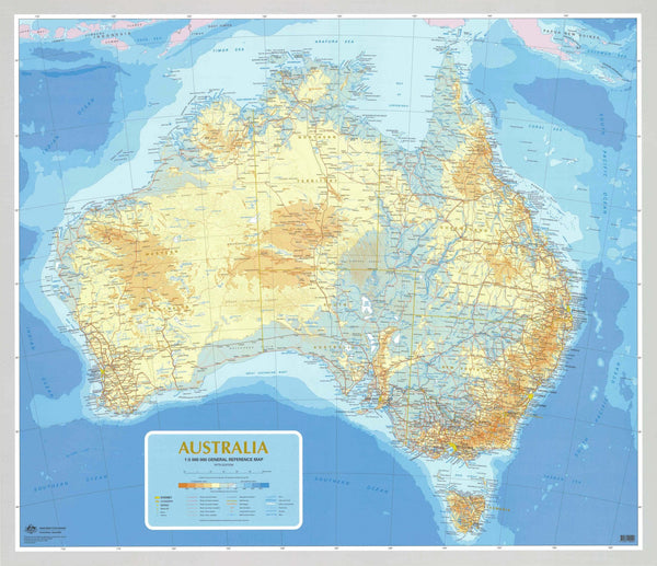 Australia 2.5m General Reference 1960 x 1680mm Laminated Wall Map with Hang Rails