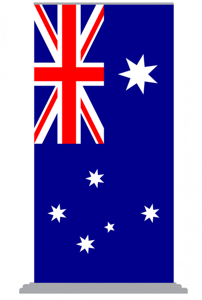 Australian National Flag 1000mm x 2000m (Pull Up Banner) with Silver Base