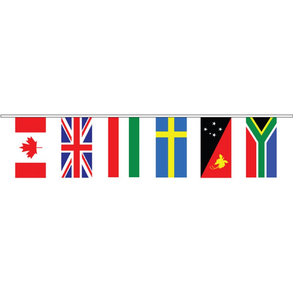 International Flag Bunting - 30 flags - Knitted Polyester