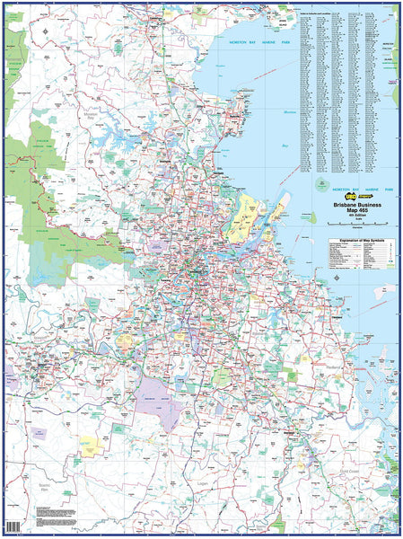 Brisbane Business 465 Map UBD 1480 x 1980mm Laminated Wall Map with Hang Rails
