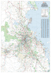Brisbane & Region Hema 1000 x 1400mm Supermap Laminated Wall Map with Free Map Dots