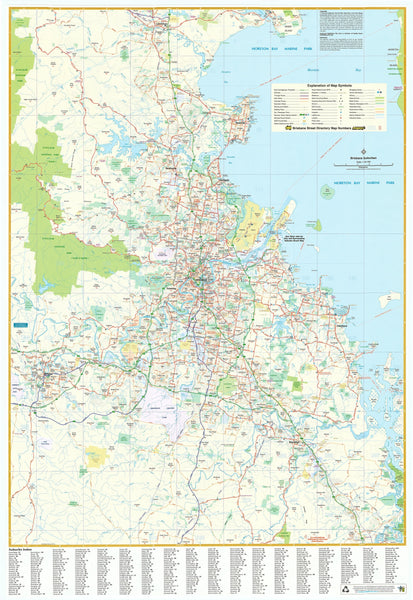 Brisbane UBD Map 690 x 1000mm Laminated Wall Map with Hang Rails