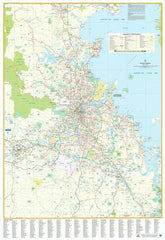 Brisbane UBD Map 690 x 1000mm Laminated with Hang Rails