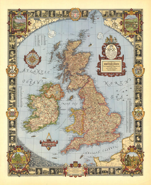A Modern Pilgrim's Wall Map of the British Isles Map by National Geographic