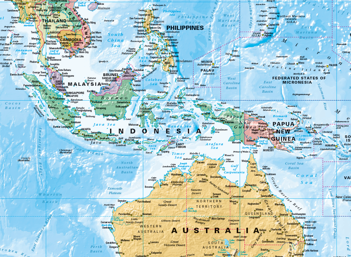 Map Of Australia Political.World Political Supermap On Canvas 1355x 790mm Pacific With Free Map Dots