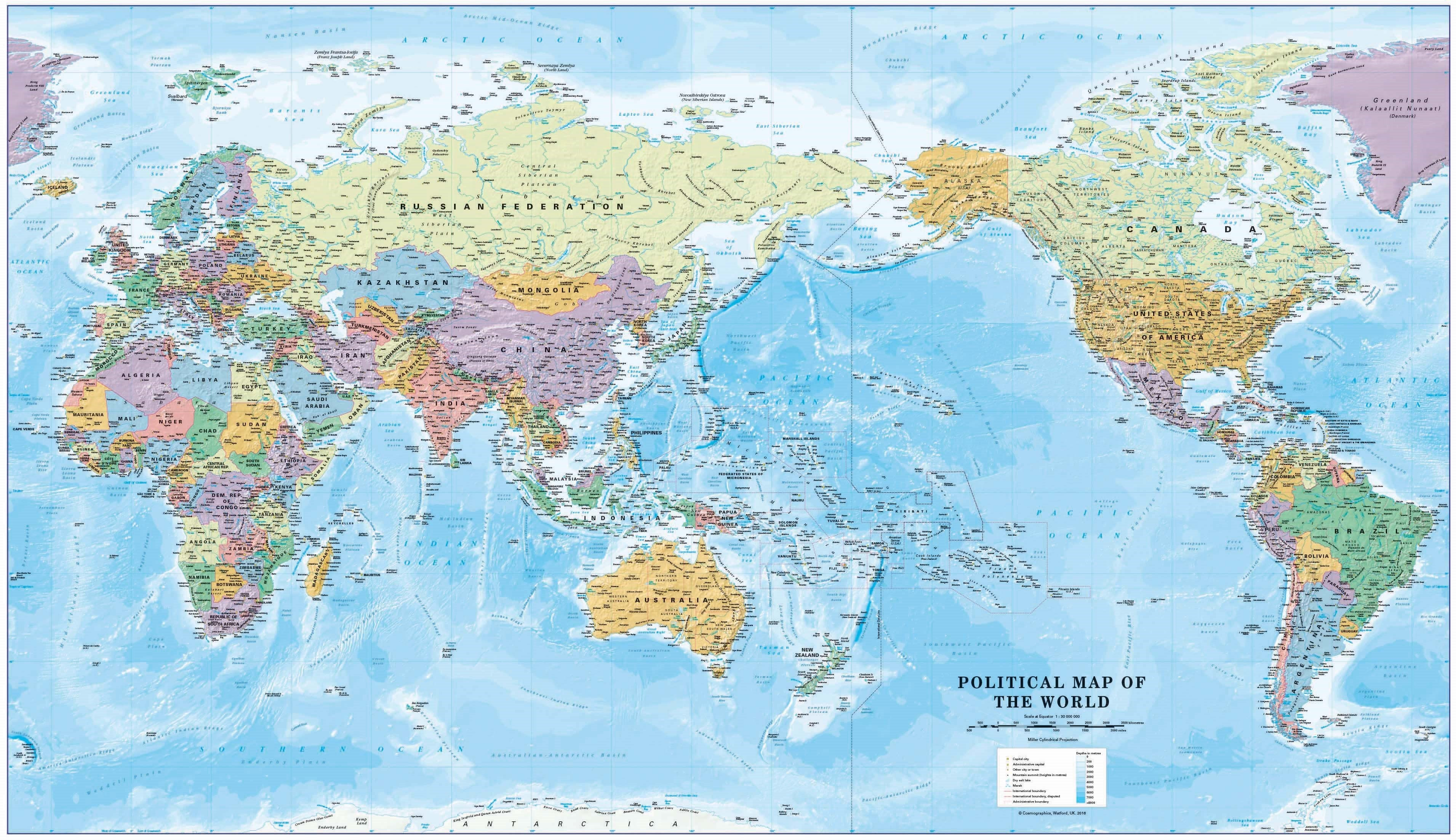 World Political Supermap on Canvas 1355x 790mm (Pacific) with FREE Map Dots