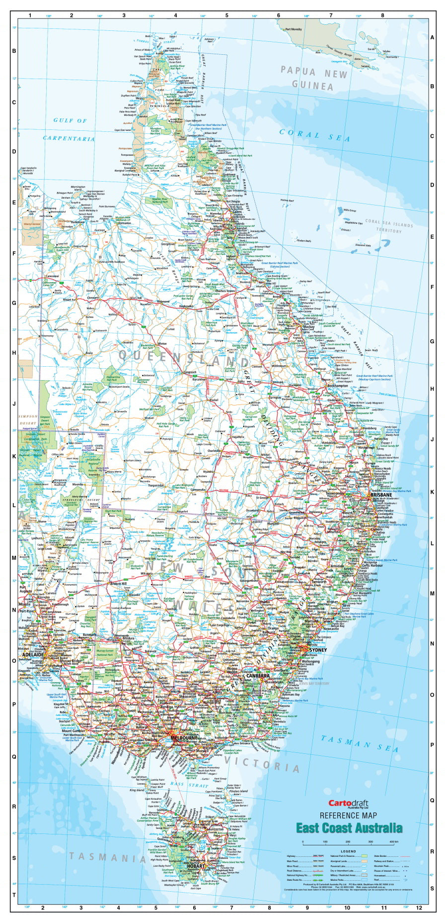 Map Eastern Australia.East Coast Australia 640 X 1400mm Laminated Wall Map