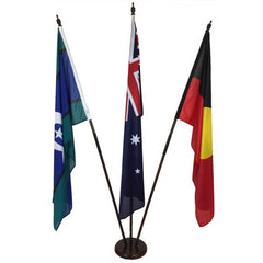Australian/Aboriginal/TSI Flag Set (1800 x 900mm sleeve) Fully Sewn with Timber Base