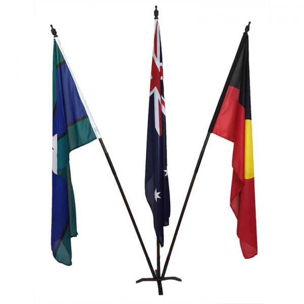Australian/Aboriginal/TSI Flag Set (1800 x 900mm sleeve) Fully Sewn with Metal Base