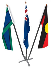Australian/Aboriginal/TSI Flag Set (1370 x 685mm sleeve) with Metal Base