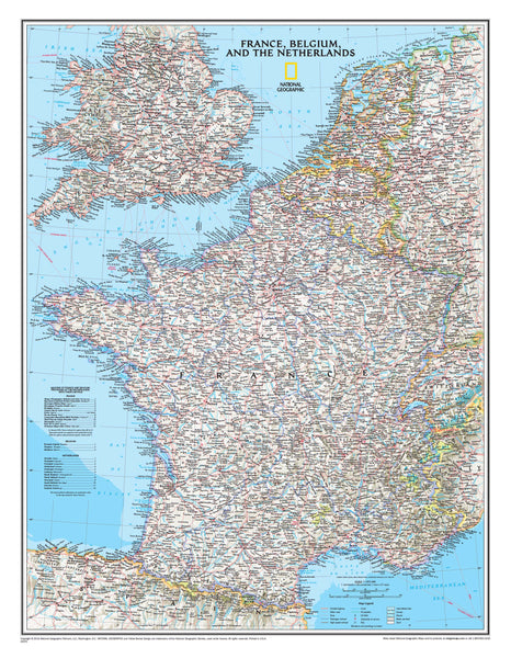 France/Belgium/Netherlands NGS 597 x 768mm Wall Map