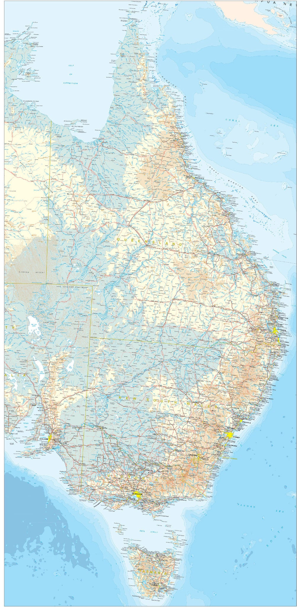 Map Eastern Australia.Eastern Australia Regional Map 700 X 1400mm Bma Laminated Wall Map