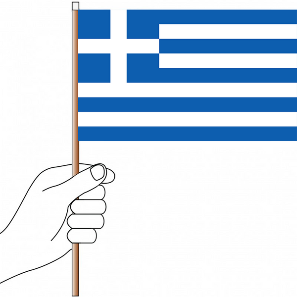 Greece Flag Handwaver - Knitted Polyester