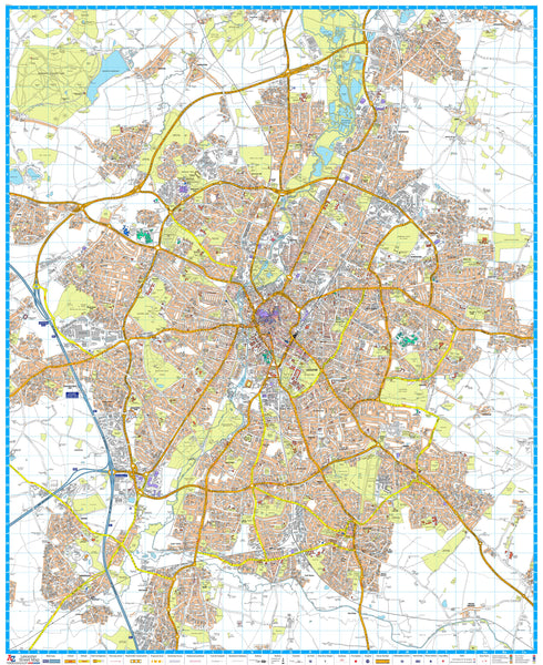 Leicester A-Z 920 x 1125mm Wall Map