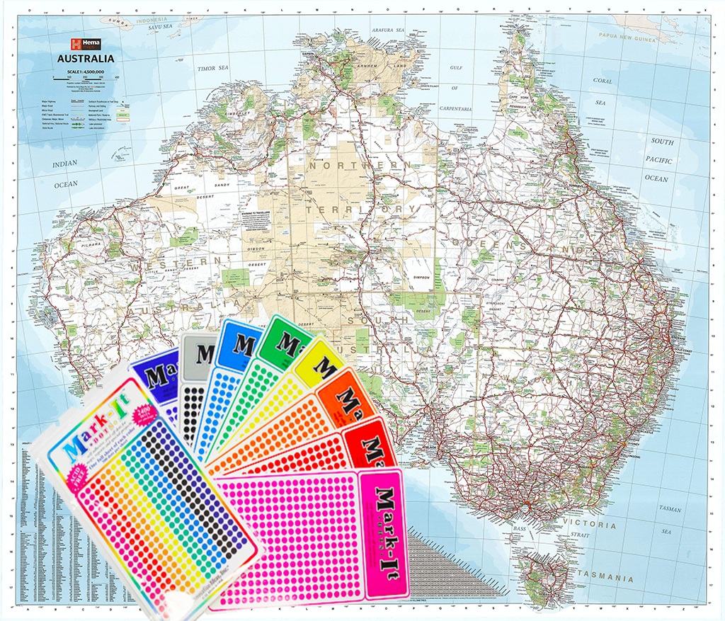 Australia On A Map.Australia Hema 1686 X 1481mm Mega Map Laminated Wall Map With Free Map Dots