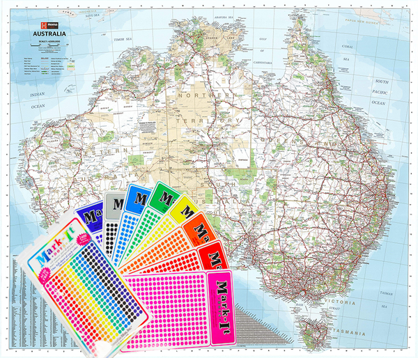 Australia Hema 1220 X 1067mm Supermap Laminated with FREE Map Dots
