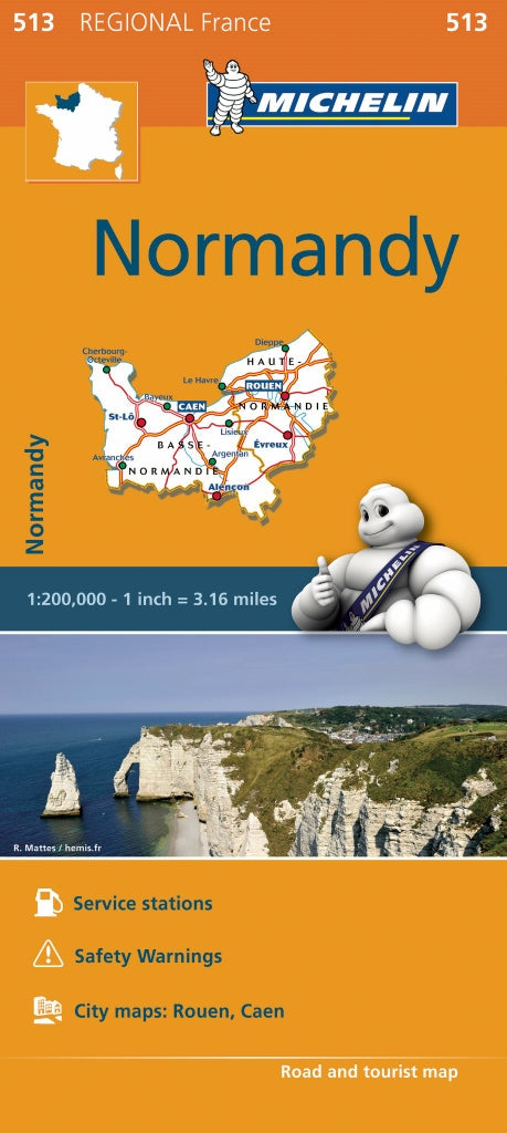 Map Of Normandy France Detailed.Normandy 513 France Michelin Map