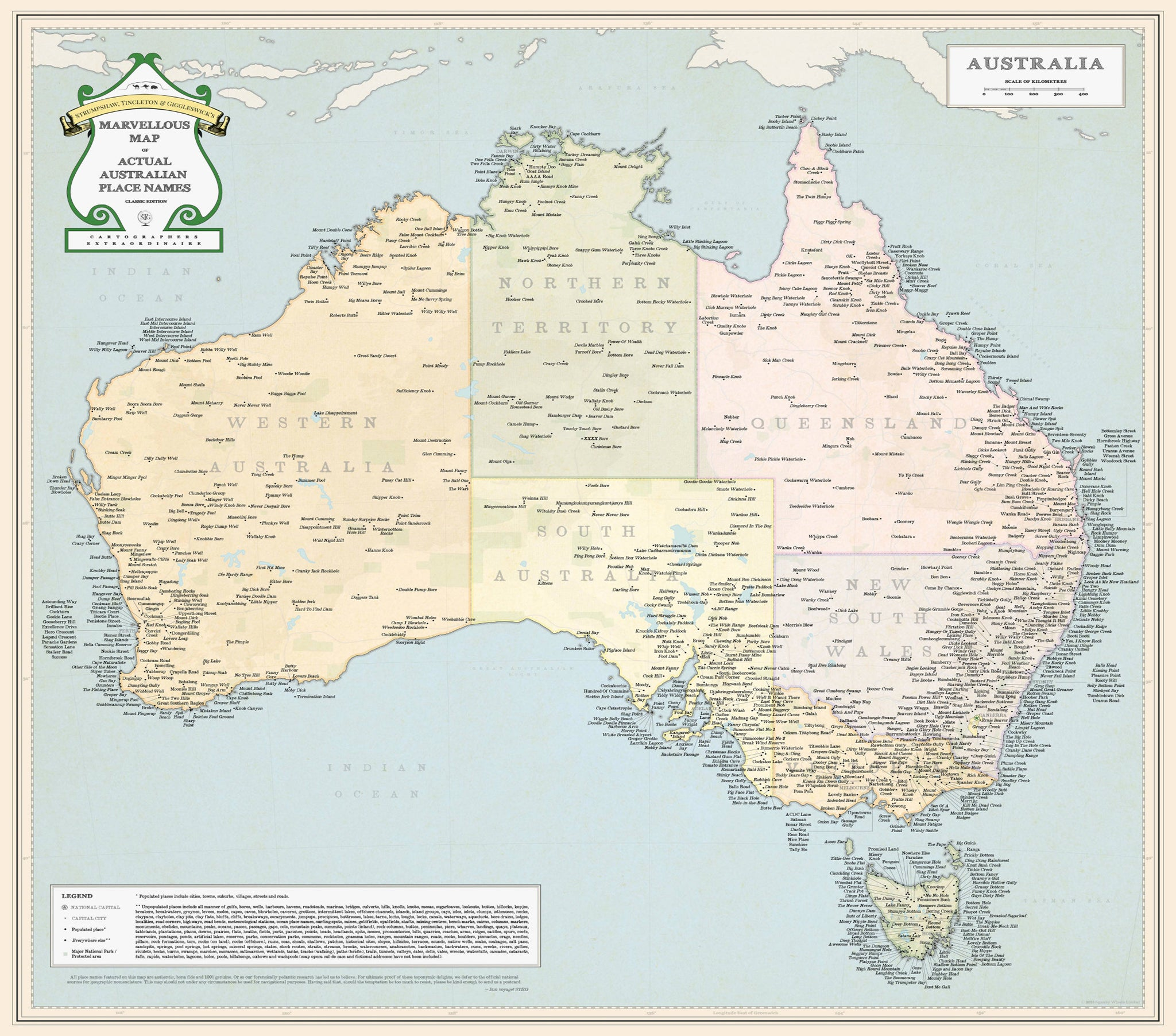 marvellous map of actual australian place names 660 x 660mm paper