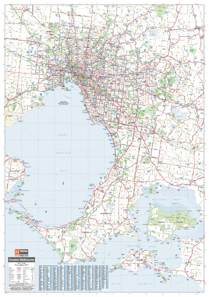 Melbourne & Region Hema 1000 x 1430mm Supermap Laminated Wall Map with Free Map Dots