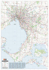 Melbourne & Region Hema 700 x 1000mm Laminated Wall Map with Hang Rails