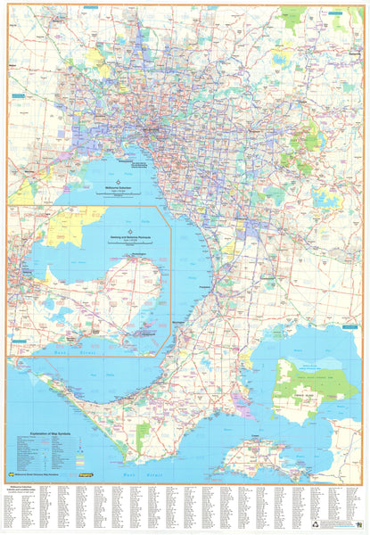 Melbourne UBD Map 1380 x 2000mm Laminated Wall Map