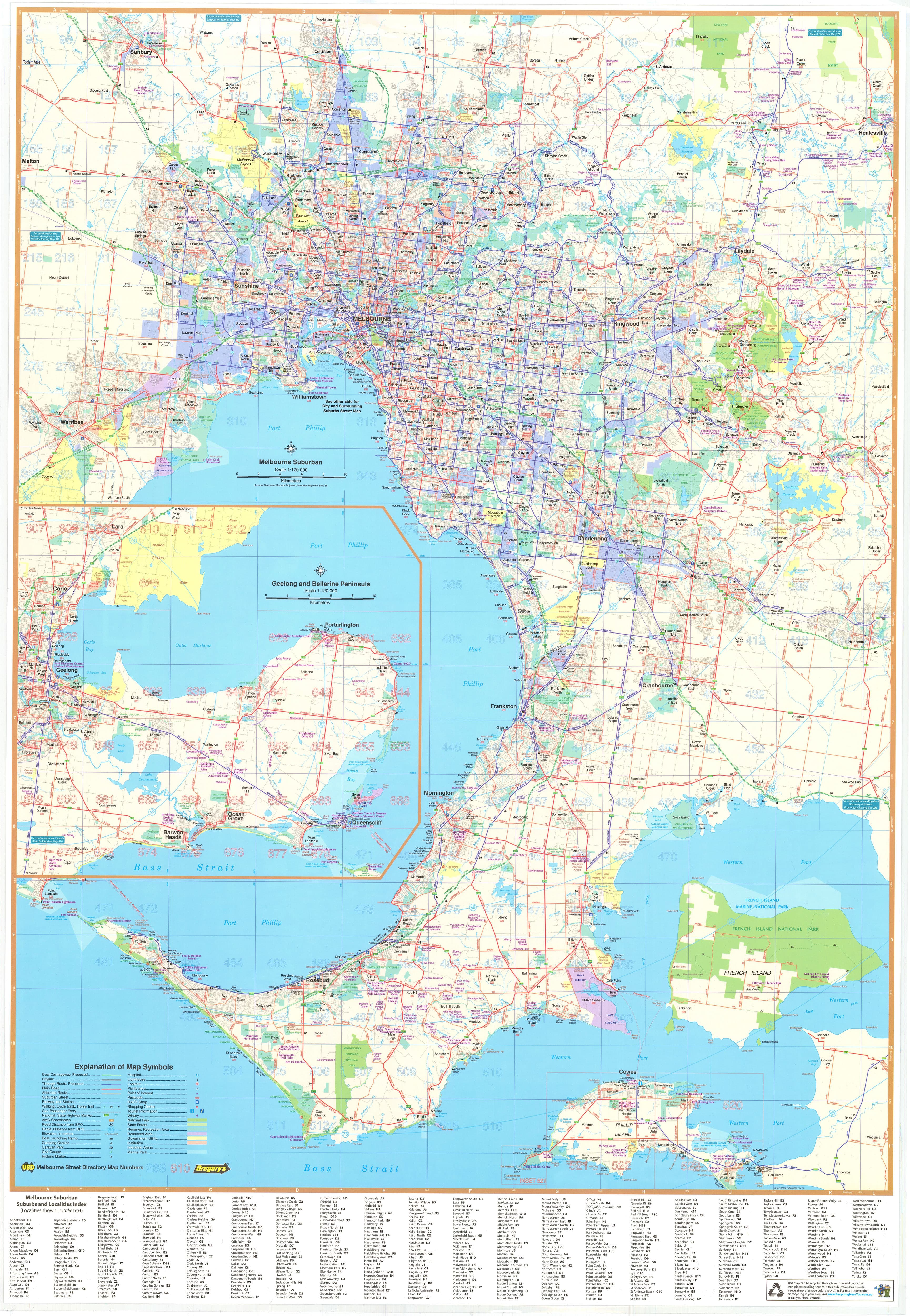 Buy Ubd Melbourne Wall Map Laminated Mapworld