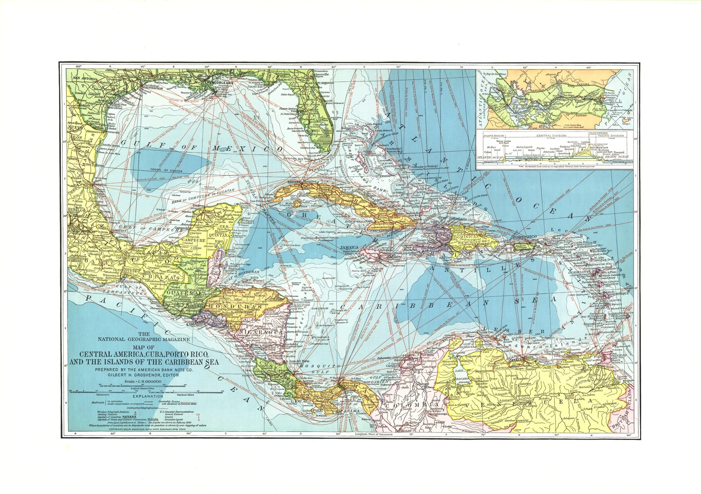 Picture of: Central America Published 1913 National Geographic Shop Mapworld