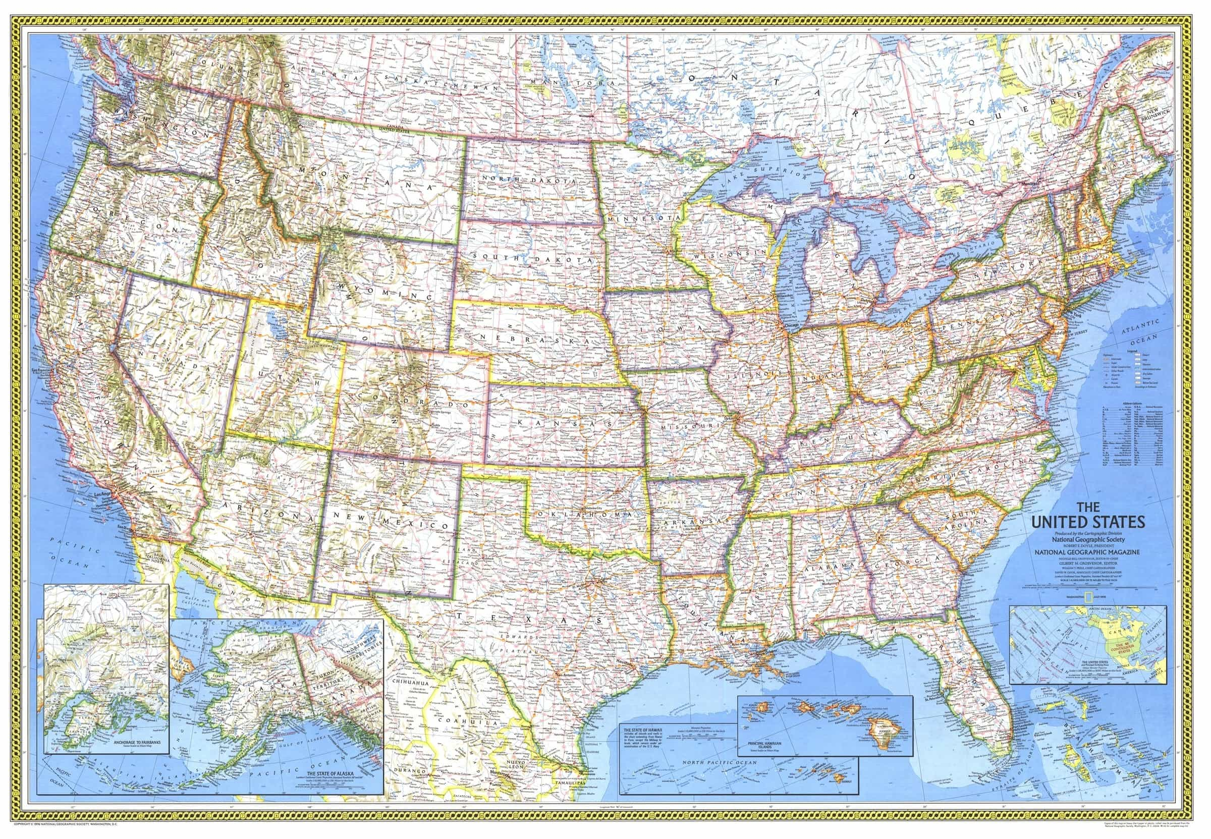 Picture of: United States Of America 1976 Wall Map By National Geographic Ebay