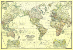 World Wall Map 1922 by National Geographic