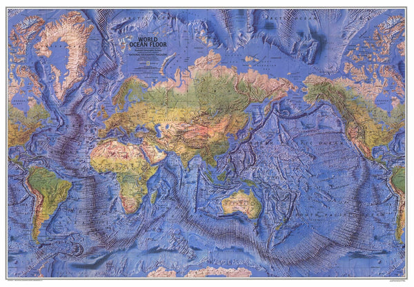 World Ocean Floor Map 1981 by National Geographic