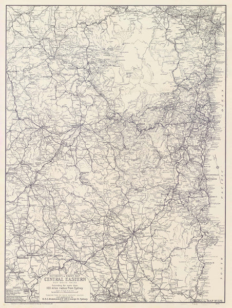 Central Eastern New South Wales Motorist's & Hiker's Map by Robinson published 1932