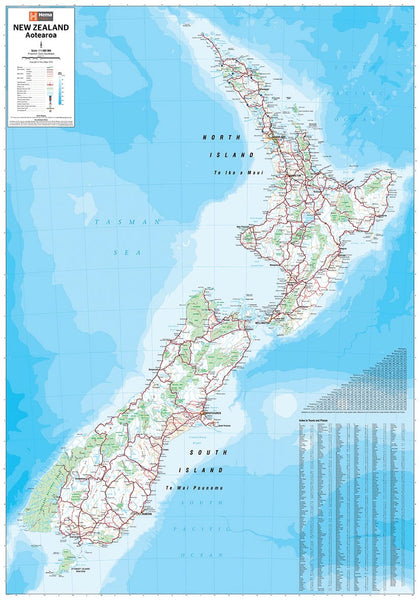 New Zealand Hema 1000 x 1400mm Supermap Paper Wall Map