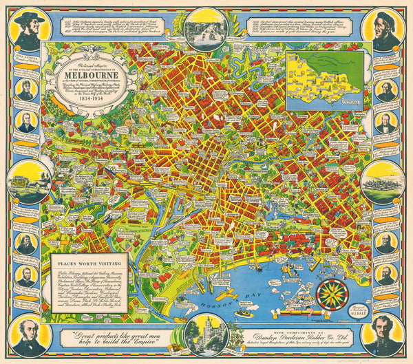 Pictorial Map of Melbourne by Dale published 1934