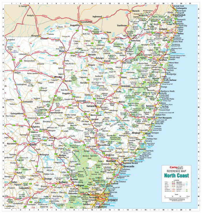 Buy North Coast NSW wall map with Hang Rails - Mapworld