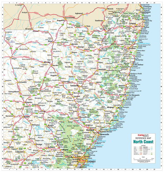 North Coast NSW 1000 x 1050mm Laminated Wall Map with Hang Rails