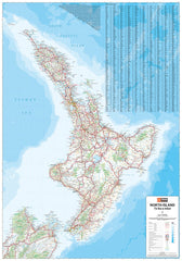 New Zealand North Island Hema 700 x 1000mm Laminated Wall Map with Hang Rails