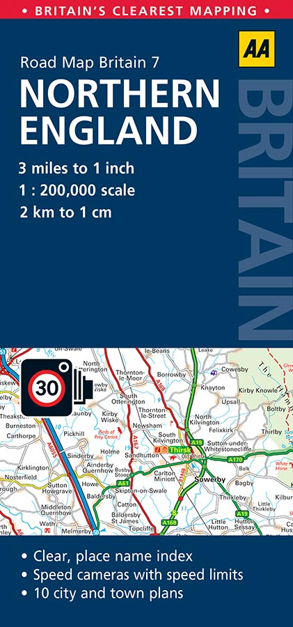 Map Of Northern England.Northern England Aa Road Map 7