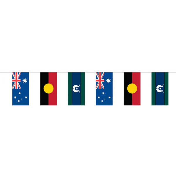 Australian, Aboriginal and Torres Strait Islander Flag Bunting - Knitted Polyester