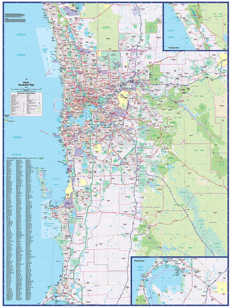 Perth Business 665 Map UBD 1010 x 1350mm Laminated Wall Map