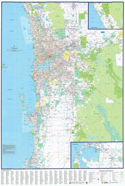 Perth UBD map 690 x 1000mm Laminated Wall Map with Hang Rails