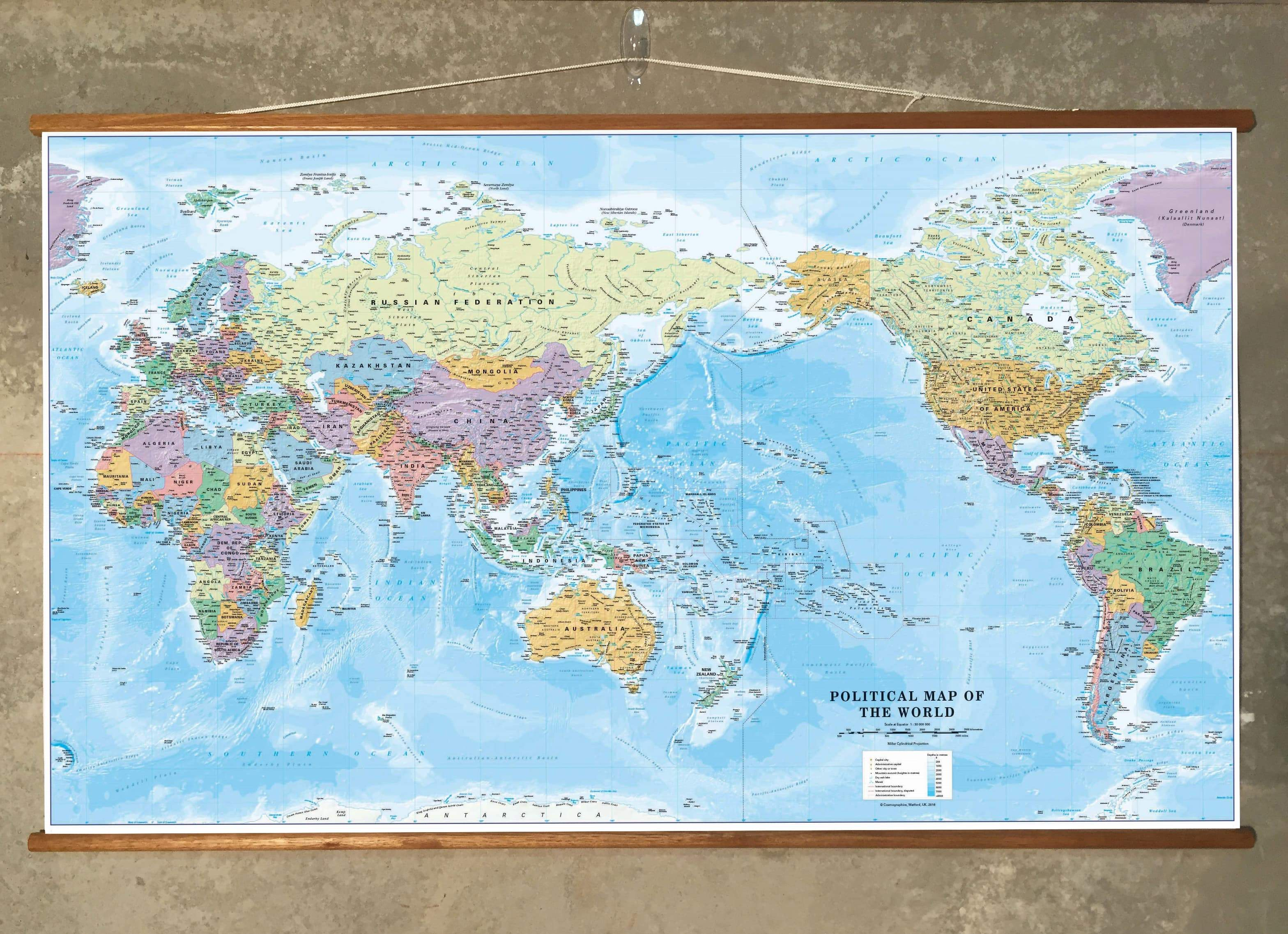 World Political Supermap on Canvas 1355x 790mm (Pacific) with FREE on earth map canvas, old world map canvas, map wall art, ikea world map canvas, united states map canvas,