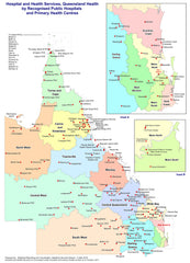 Queensland Hospitals & Health Centres 720 x 1000mm Wall Map