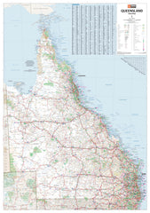 Queensland Hema 700 x 1000mm State Laminated Wall Map with Hang Rails