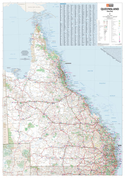 Queensland Hema 700 x 1000mm State Paper Wall Map