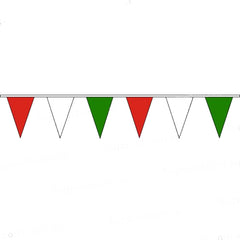 Pennant Bunting Red, White & Green - Vinyl - 25m